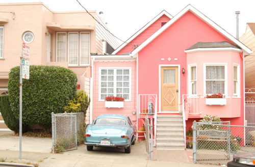 Pink house blue car